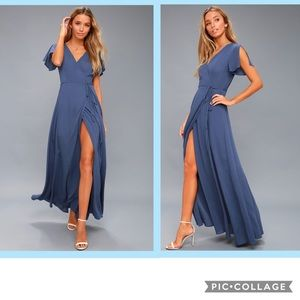 Heart of Marigold Denim Blue Wrap Maxi Dress